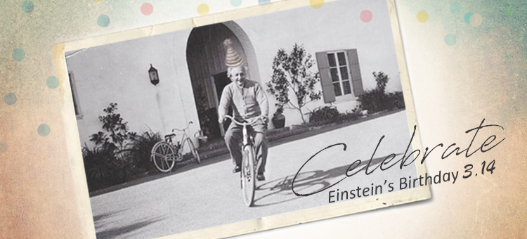 Einstein on a bike with a birthday hat