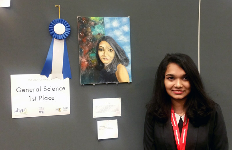 "Sachithra Weerasoorya, Midwestern State University, is pictured with her piece ""Self Paradox, which won first place in the General Science category."