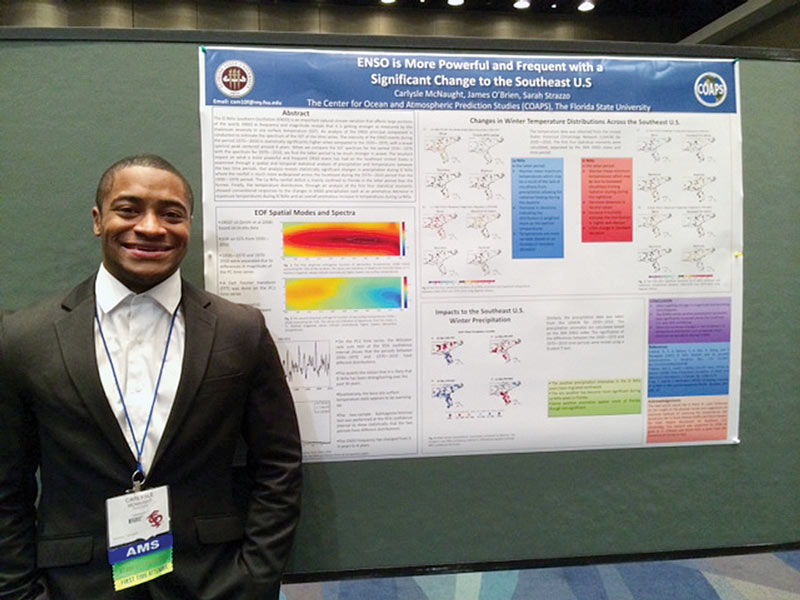 Carlysle McNaught poses proudly with his research poster at the 13th Annual American Meteorological Society (AMS) Student Conference.