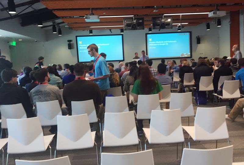 Attendees gather for an information session from Google X personnel