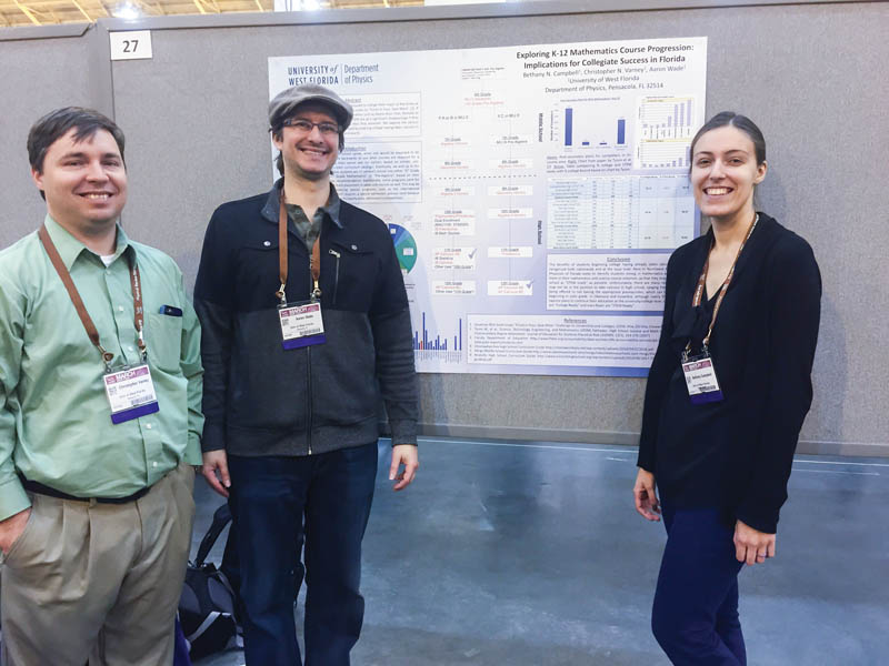 Dr. Christopher N. Varney, Dr. Aaron Wade, and Bethany Campbell at the undergraduate poster session.