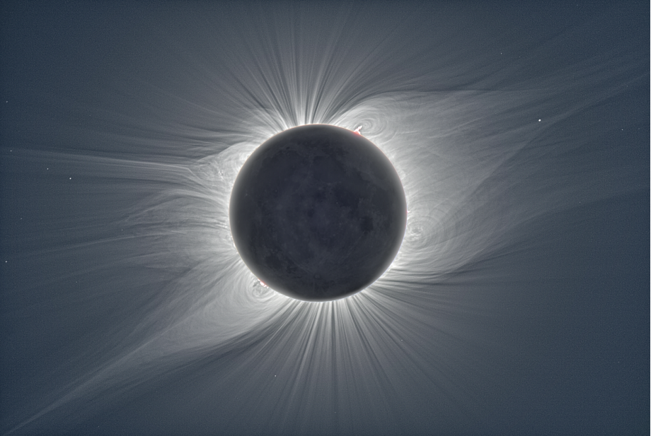 A beautiful picture of the corona surrounding the sun during an eclipse on the date of the event I am studying.