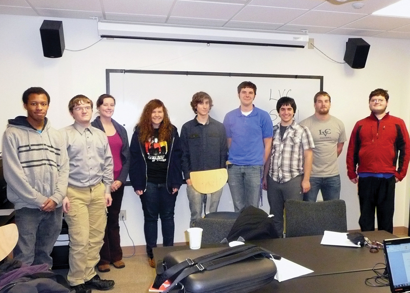 Lebanon Valley College project proposers Cedrick McDonald, Gregory Renner, Dr. Ruth Malenda, Hannah Pell, Matt Campbell, Nick Durofchalk, Anthony Hoover, Andrew Burkholder, and Douglas Olinger. Photo courtesy of Dr. Ruth Malenda.