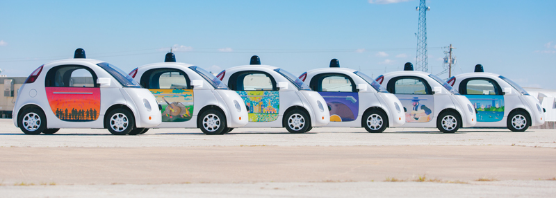 "Google self-driving vehicle prototypes were embellished by local artists for a ""Paint the Town"" event in Austin, TX. Photo courtesy of Google"