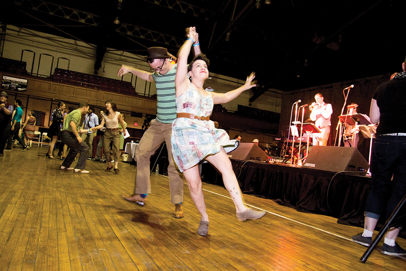 Swing dancing helped Lucero realize her love of teaching. She is shown here dancing with David Lee at Stompology 2014. Photo by Jessika Duquette.
