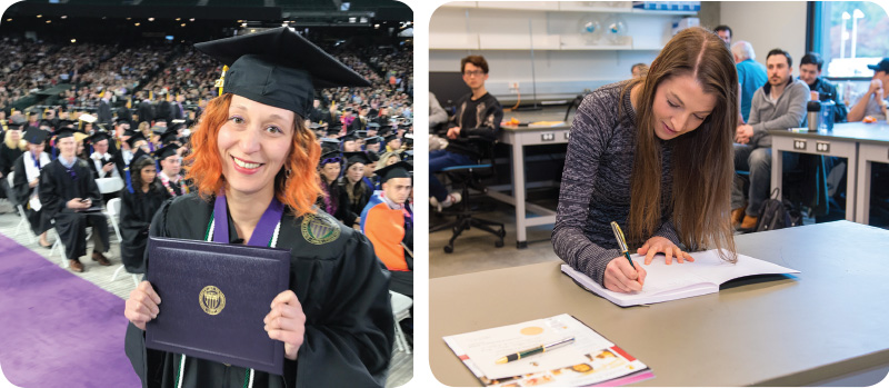 L-Holly Gummelt during the University of Washington Bothell graduation, proudly wearing her Sigma Pi Sigma honor cords. R-Katherine Reyes signs her name in the red book during the University of Washington Bothell inaugural Sigma Pi Sigma induction.
