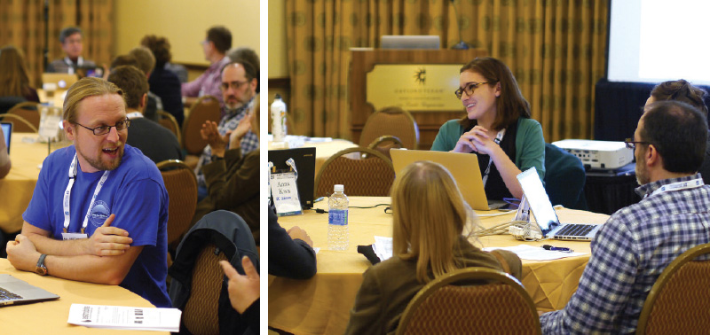 Attendees discuss using Astrobites in the classroom during a workshop at the 229th meeting of the American Astronomical Society. Image courtesy of Astrobites.