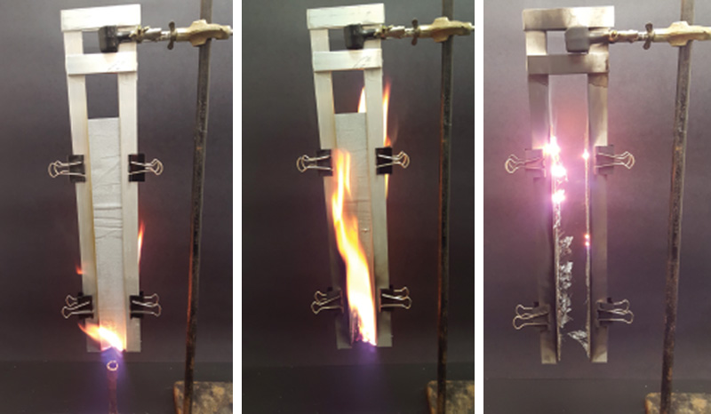 Figure 1. Our apparatus for vertical flame testing. (a) Start of flame test. (b) Afterflame. (c) Afterglow.