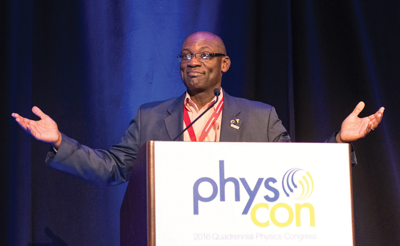 Sigma Pi Sigma President Willie S. Rockward was a fixture at the podium for PhysCon 2016. Photo courtesy of Ken Cole