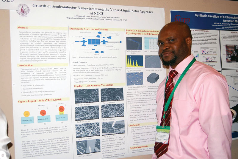 Poster presenter Adetogun Adeyemo received an Honorable Mention for the Outstanding Student Poster Award, sponsored by the Optical Society (OSA).