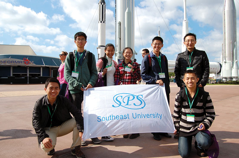 Students from Southeast University in China enjoy the Kennedy Space Center Visitor Complex.