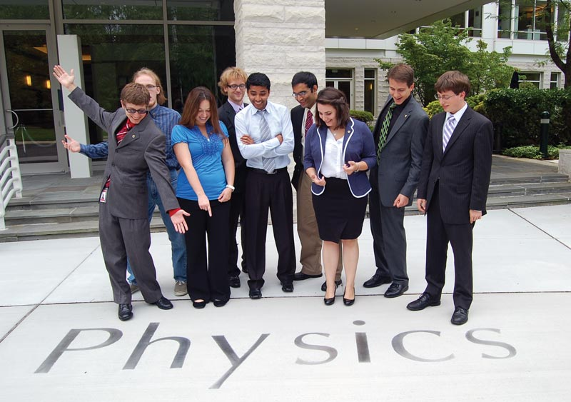 2012 SPS interns stand in front of the American Center for Physics, home to the SPS national office. Photo by Tracy Nolis-Schwab.