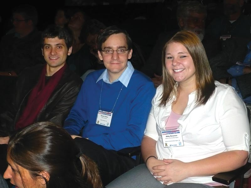 Chris Faesi (left) and two other IU chapter members attend the 2008 Sigma Pi Sigma Quadrennial Physics Congress, held at Fermilab.