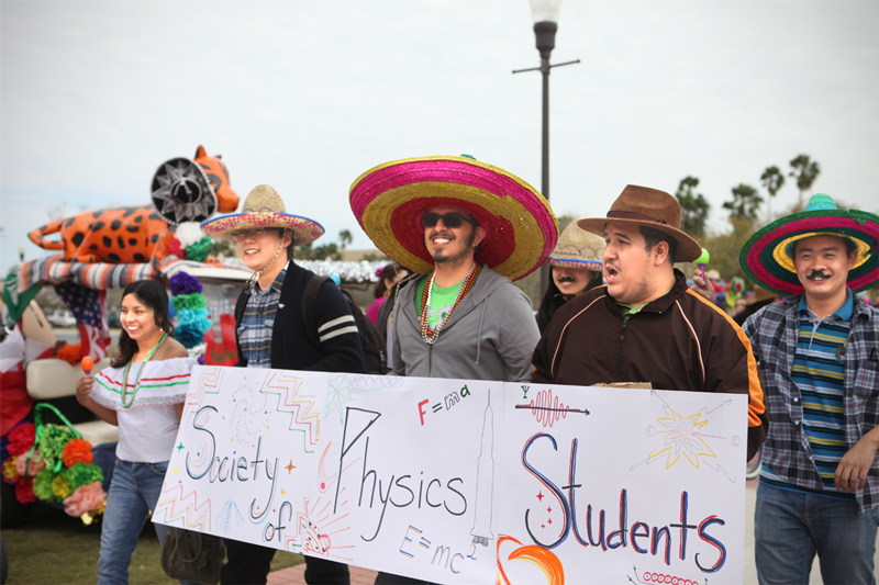 SPS Members at the University of Texas at Brownsville (UTB) join in a Charro Days student parade.  Photo courtesy of UTB.