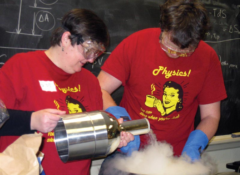 SPS President DJ Wagner makes liquid nitrogen ice cream during a chapter meeting at Grove City College. Photo courtesy of DJ Wagner.