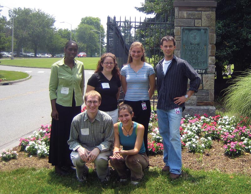 Bridger Anderson is pictured with the 2005 SPS interns during a tour of his host site, NIST