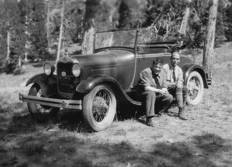 Paul Ehrenfest (LEFT) and Gerhard Dieke sit on the running board of a Ford Model A near Ann Arbor, Michigan. Model A's were built between 1928 and 1932. Photo courtesy of the AIP Emilio Segrè Visual Archives, Goudsmit Collection.