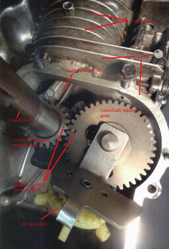 The alignment of the timing marks on the crankshaft timing gear (left) and the camshaft timing gear (right). Note the oil slinger, the  plastic paddle wheel driven by the camshaft timing gear.