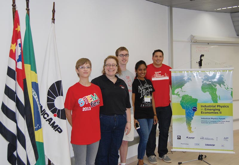 Northern Illinois University representatives at IPF (from left to right), Ashlyn Shellito, Anna Quider, Jamison Thorne, Anusha Ravva, and Nick Thompson. Photo by Joe York.