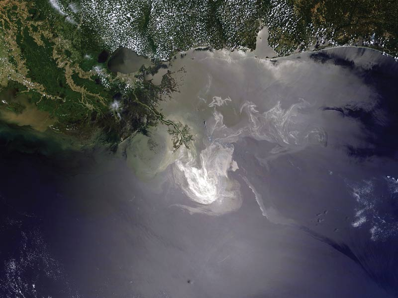 A NASA satellite image reveals the oil slick off the coast of Louisiana. Image courtesy of NASA.