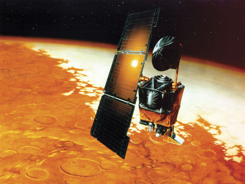 The Mars Climate Orbiter disintegrated in the Martian atmosphere because a subcontractor programmed its thrusters in imperial units instead of the metric units NASA was using. Image courtesy of NASA.