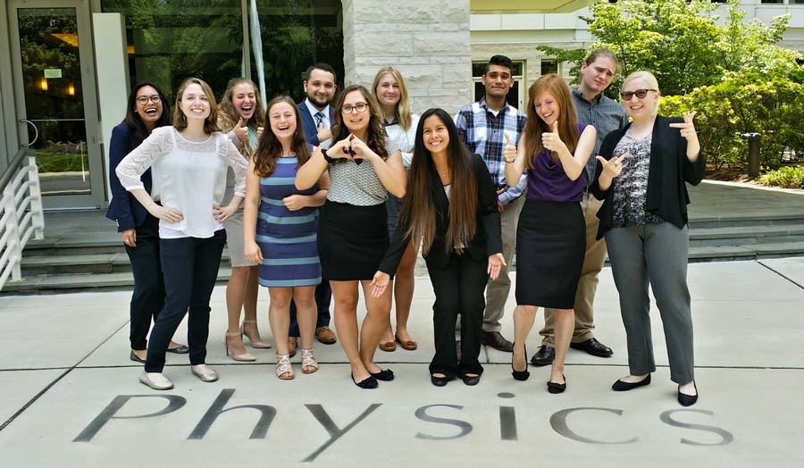 The 2016 SPS Summer Interns, pictured in front of the American Center for Physics in College Park, MD.