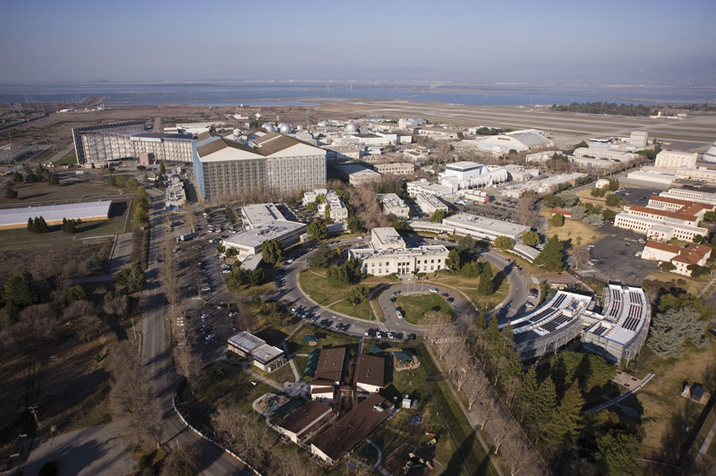 An aerial photograph of NASA's Ames Research Center taken in February 2012. Photo courtesy of NASA / Eric James.