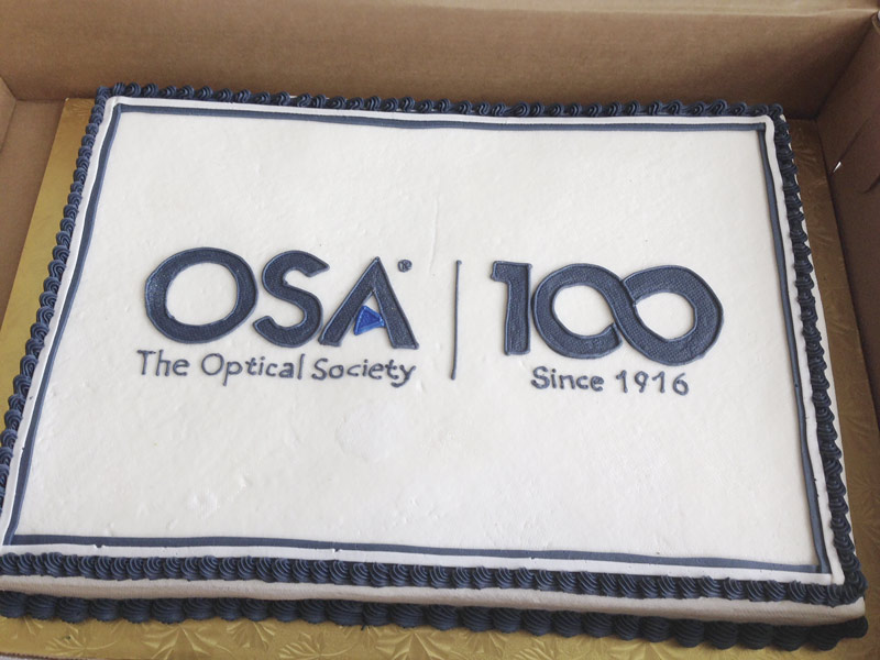 Students from the University of Maryland's OSA student chapter celebrated the centennial in a sweet way with this cake displaying OSA's centennial logo. Photo courtesy of The Optical Society.