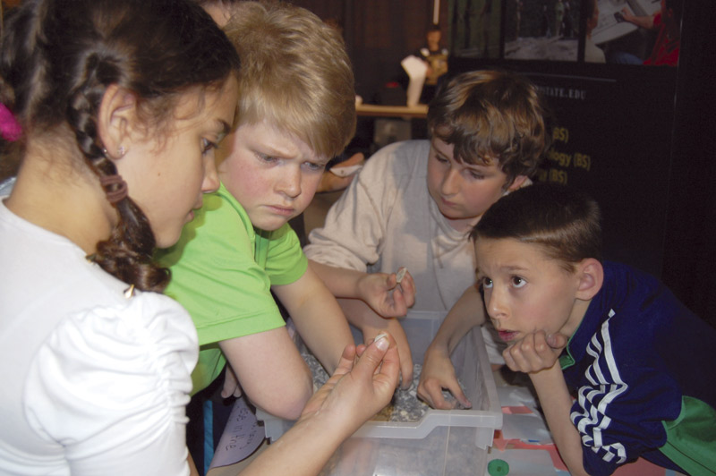 Our Expo is a multidisciplinary event. Here, students identify small fossils. Photo courtesy of Appalachian State University.