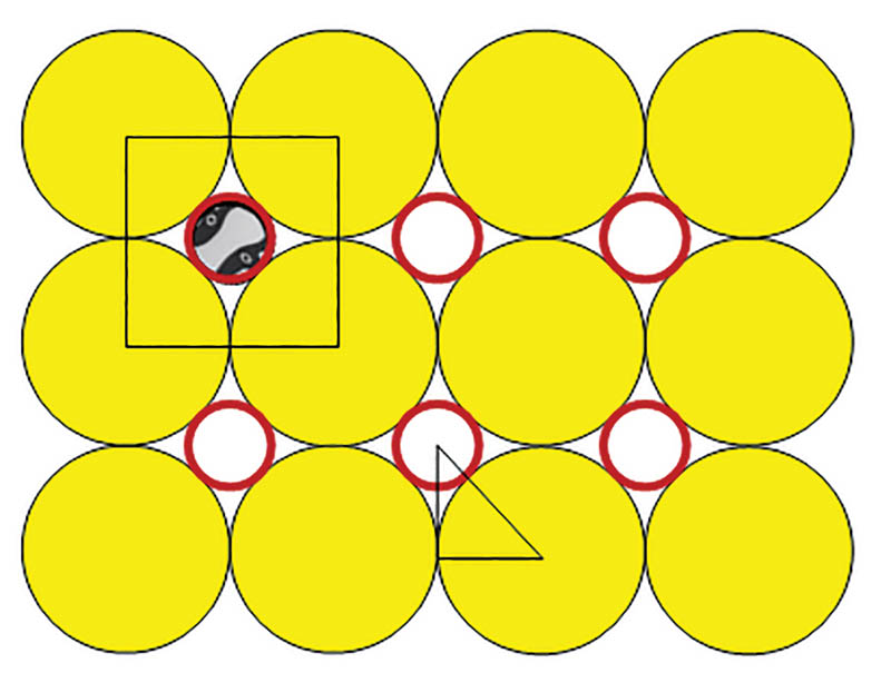Figure 2 - Circular cows with one circular head; initially we consider only the yellow circles outlined in black as our circular cows and get a packing fraction of p/4; next we consider each cow unit composed of two circles, the yellow body, and the little red-outlined circle as the head, improving p ~ 0.92.