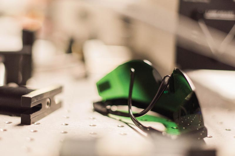 Laser-safety goggles are pictured on a bench within the Munnerlyn Astronomical Laboratory at Texas A&M University. Image courtesy of Texas A&M University.