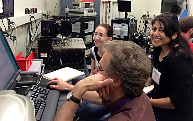SPS Summer Program Interns are deep in research with mentor, John Suehle at the National Institute of Standards and Technology in Gaithersburg, MD. Photo courtesy of AIP