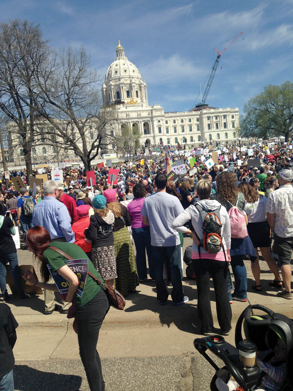 March participants gather in front of the Minnesota state capitol in Saint Paul, MN. Photo courtesy of Kendra Redmond.
