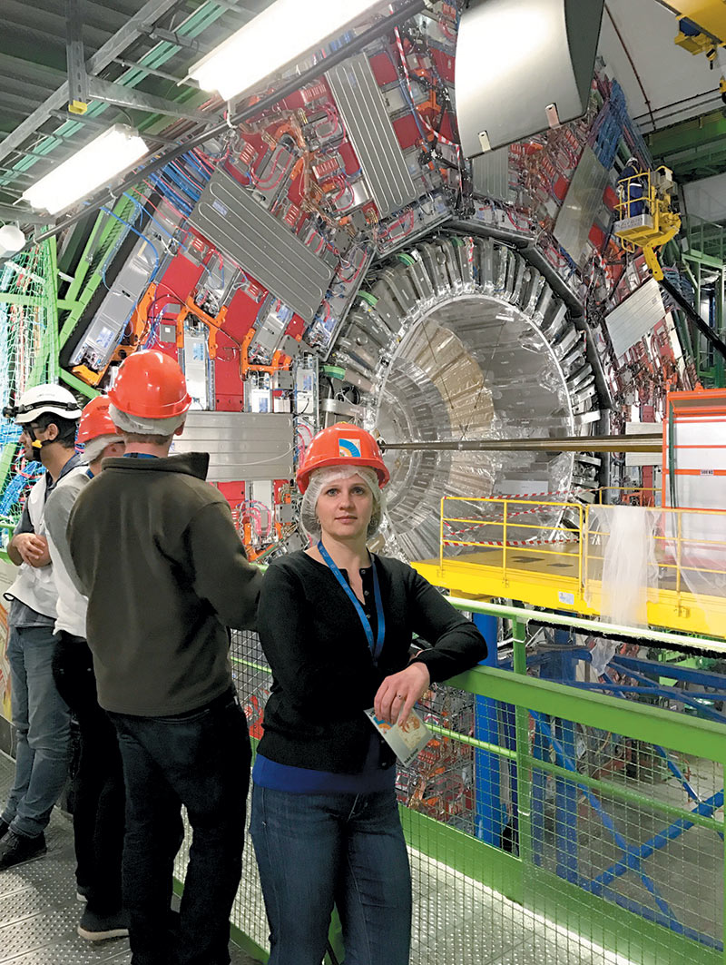Gearba-Sell while visiting CERN with students during a cultural immersion trip to Switzerland in 2017. Photo courtesy of Alina Gearba-Sell.