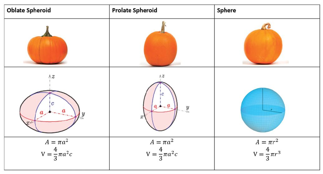 Figure 2 - Illustration4,5,6 of correlating cross-sectional pumpkin shapes, with cross-sectional area A and volume V.