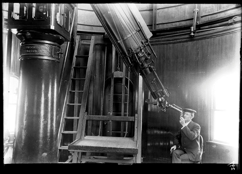 "Observer Frederick Slocum using a spectroscope on the 12"" refractor at Ladd Observatory, March 15, 1905.  Photo courtesy of Department of Physics, Brown University."