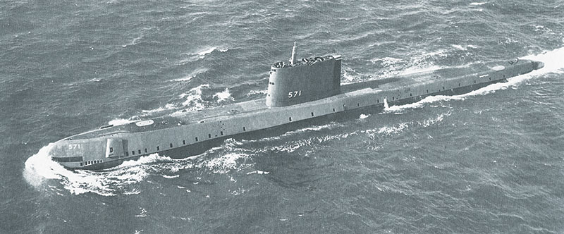 USS Nautilus (SS-571), the US Navy's first nuclear-powered submarine, on its initial sea trials, 10 January 1955. Public domain.