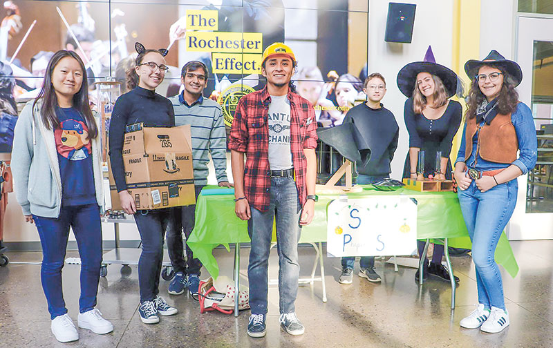 SPS members at the University of Rochester chapter's annual Spooky Science Day outreach event in 2019. Photo by Benjamin Nussbaum.