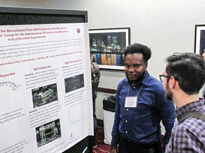 Thornton presents his undergraduate physics research at the Conference Experience for Undergrads (CEU) in 2017. Photo courtesy of S. R. Lesher, uwlax.edu/ceu/.