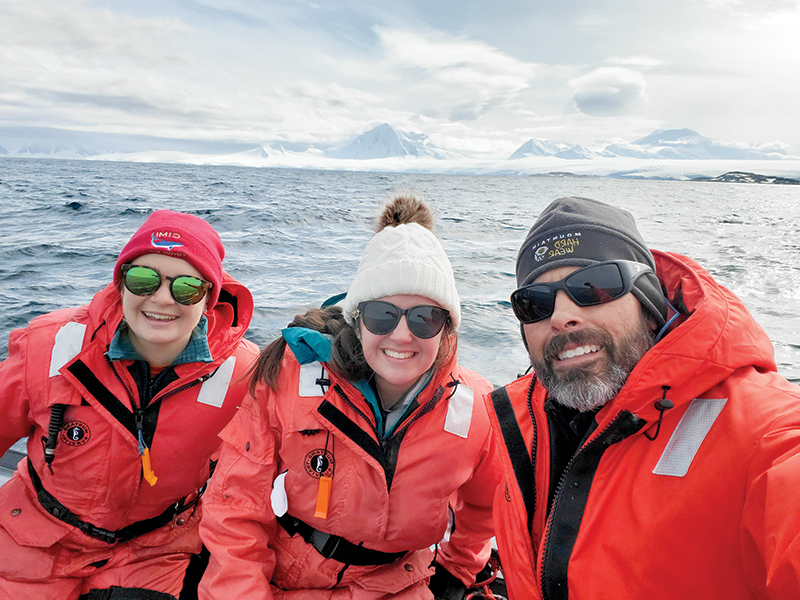 Left to right, Ashley Hann, a graduate student from Oregon State University, the author, and Dr. Matt Oliver from the University of Delaware aboard a Zodiac boat after deploying a glider.