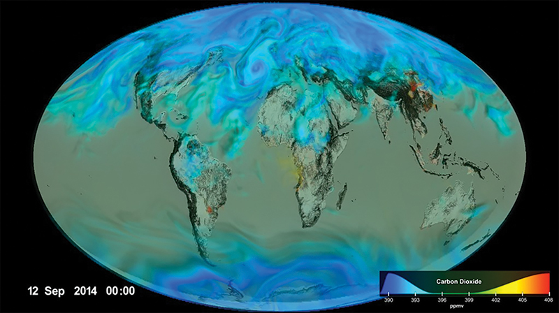 Figure 3. Visualization of CO2, by Greg Shirah and Horace Mitchell. Released on January 23, 2017, source -  svs.gsfc.nasa.gov/12478.