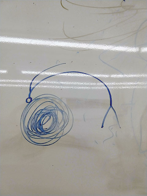 "A student's artistic portrayal of ""spaghettification."""