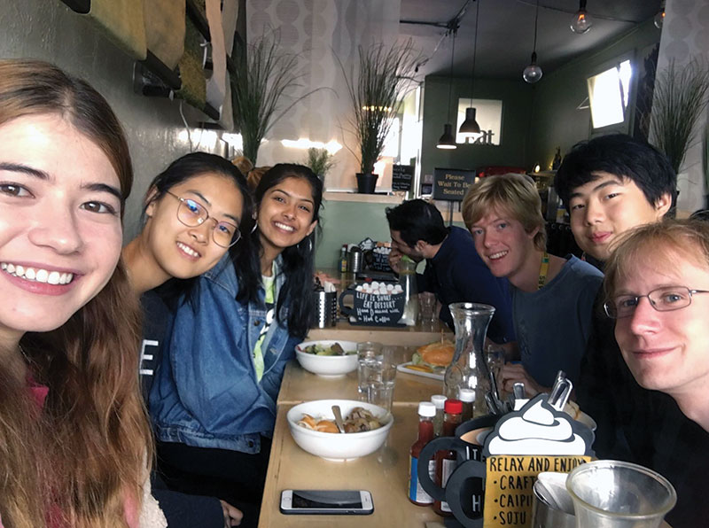 SPS co-vice president Erika Hathaway (front, left) and Carter Turnbaugh (front, right) out for a wholesome lunch with their mentorship group.