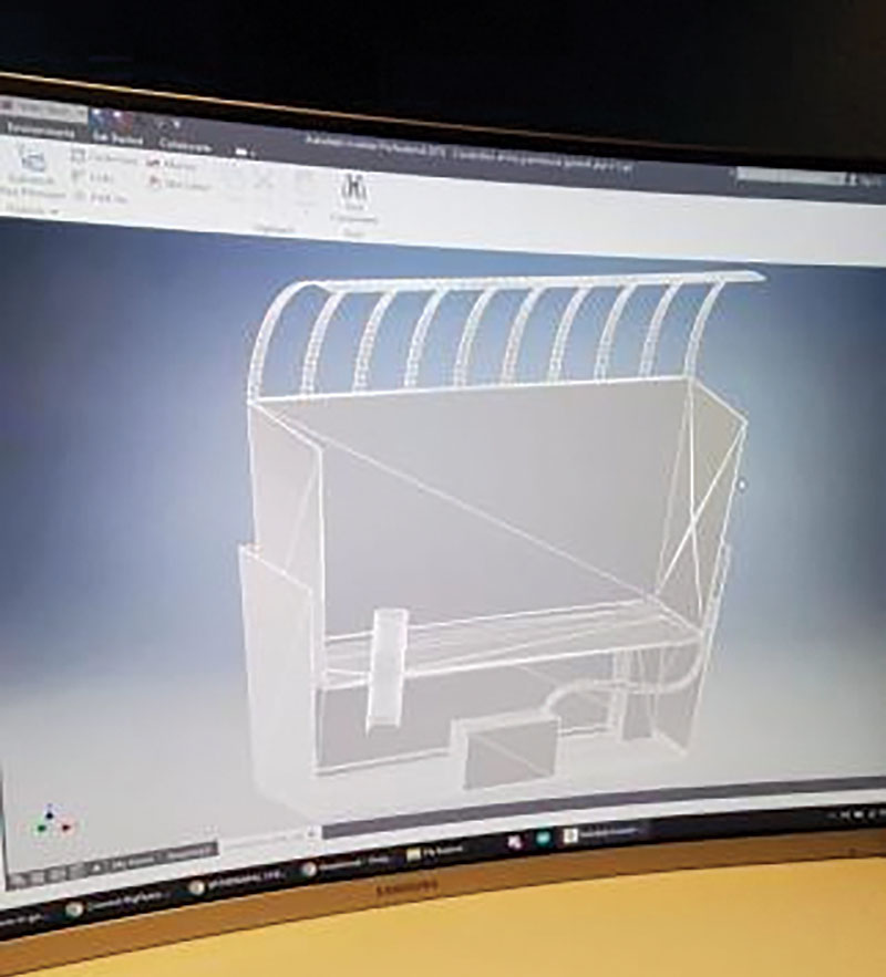 Greenhouse model designed using Inventor (CAD software). Photo by Ian Reyes.