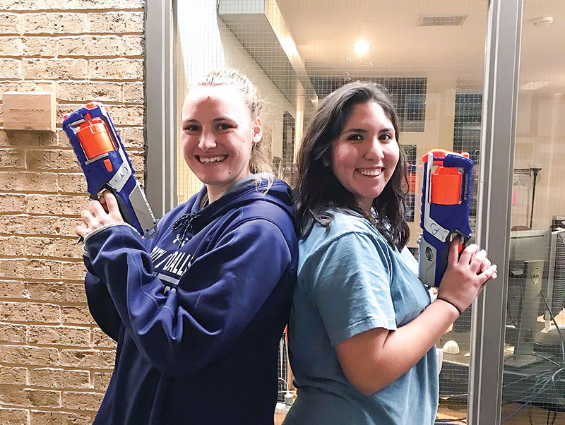 Two UD students prepare for battle. Photo by Gianna Milton.