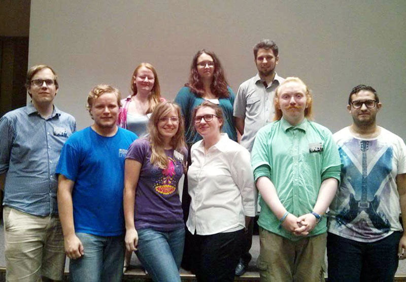 The 2015–16 Executive Committee of the International Association of Physics Students. Amanda Landcastle is pictured in the first row, third from right.