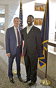 Former SPS and NIST Intern Kearns Louis-Jean with Senator David Vitter (R-LA). Photo by Matt Payne.