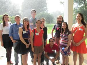 All of the Society of Physics Students (SPS) Interns in front of the Newton Apple Tree Clone at NIST
