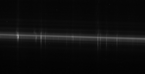 An example of Ultraviolet Spectra taken from the Hubble Space Telescope. The vertical lines are actual emission lines from Eta Carinae! (For those wondering, the brightest pixel is located in the leftmost emission line)