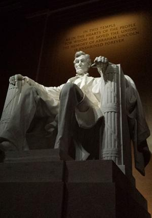 From a midnight visit to the Lincoln Memorial.